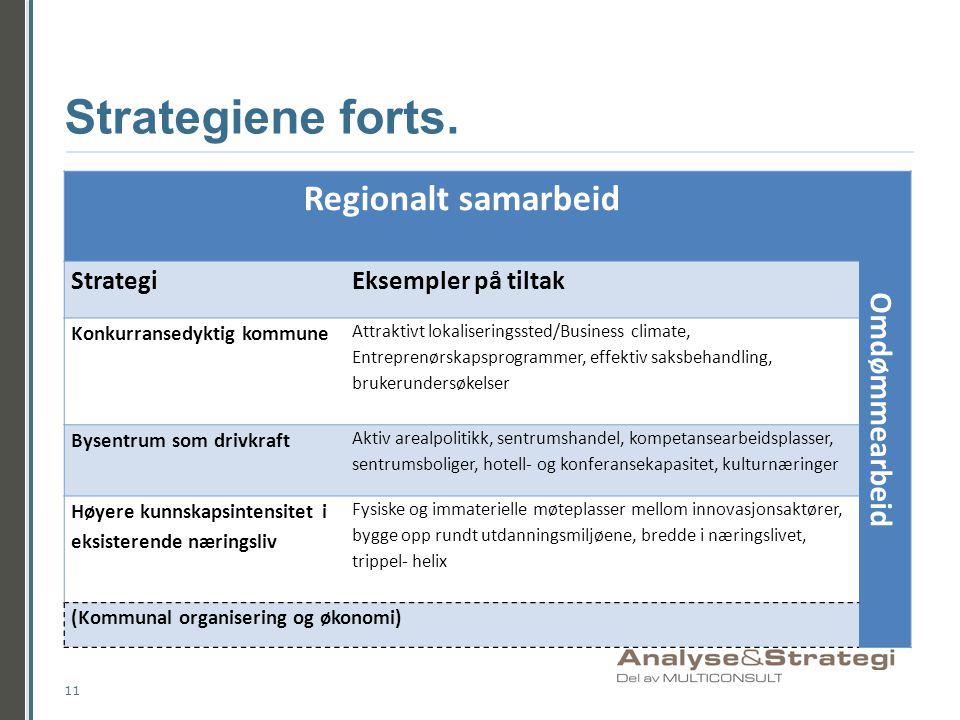 Strategiene forts. Regionalt samarbeid Omdømmearbeid Strategi