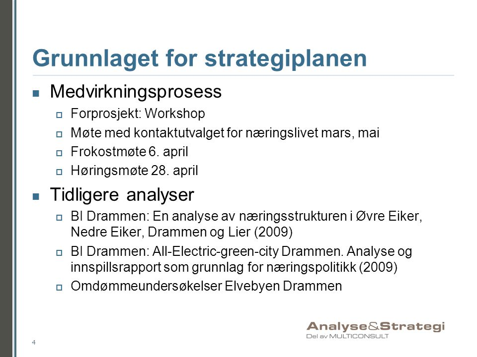 Grunnlaget for strategiplanen