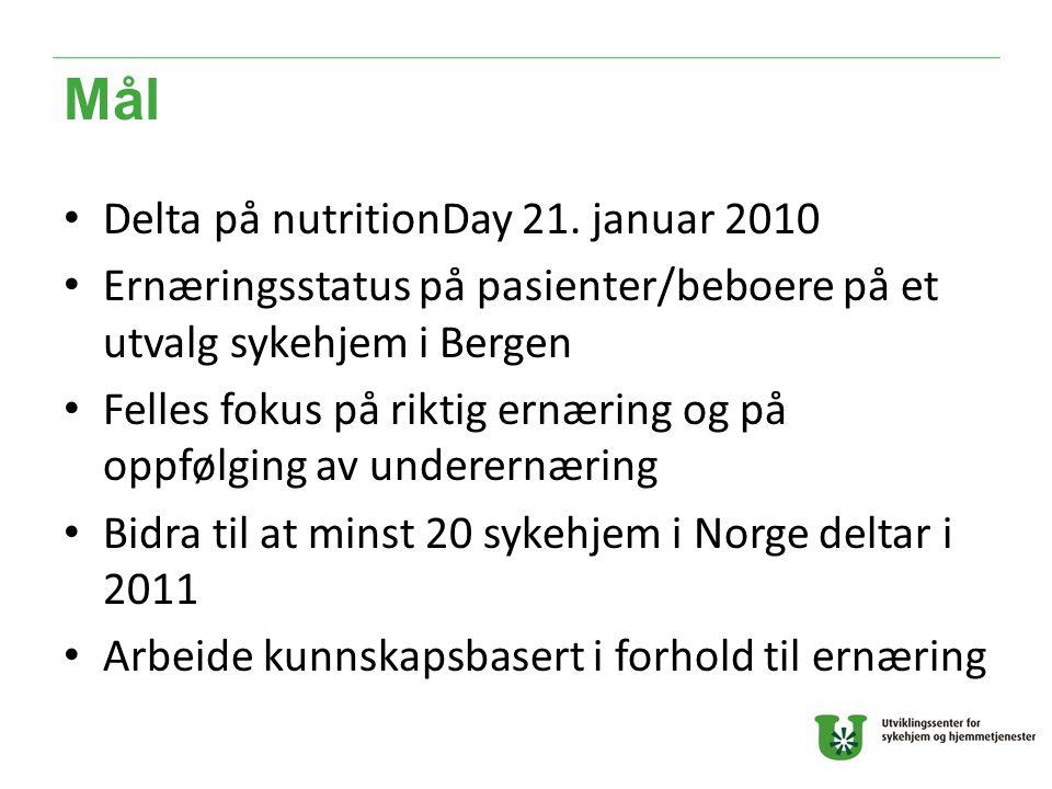Mål Delta på nutritionDay 21. januar 2010