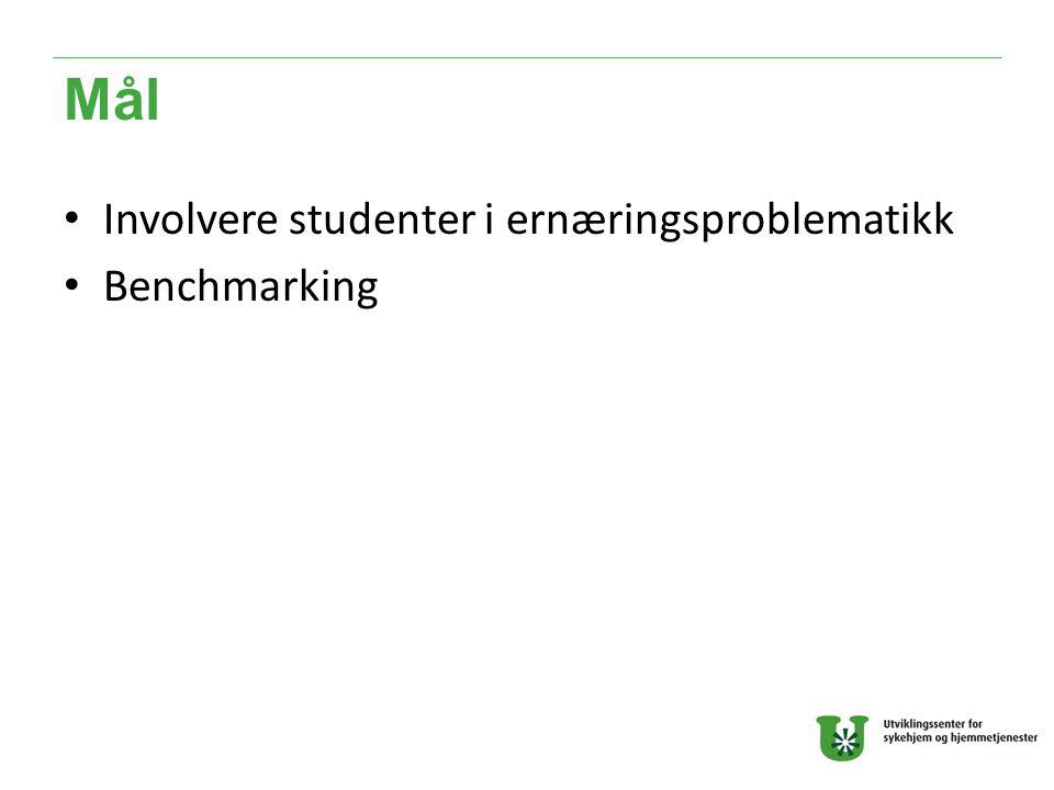 Mål Involvere studenter i ernæringsproblematikk Benchmarking