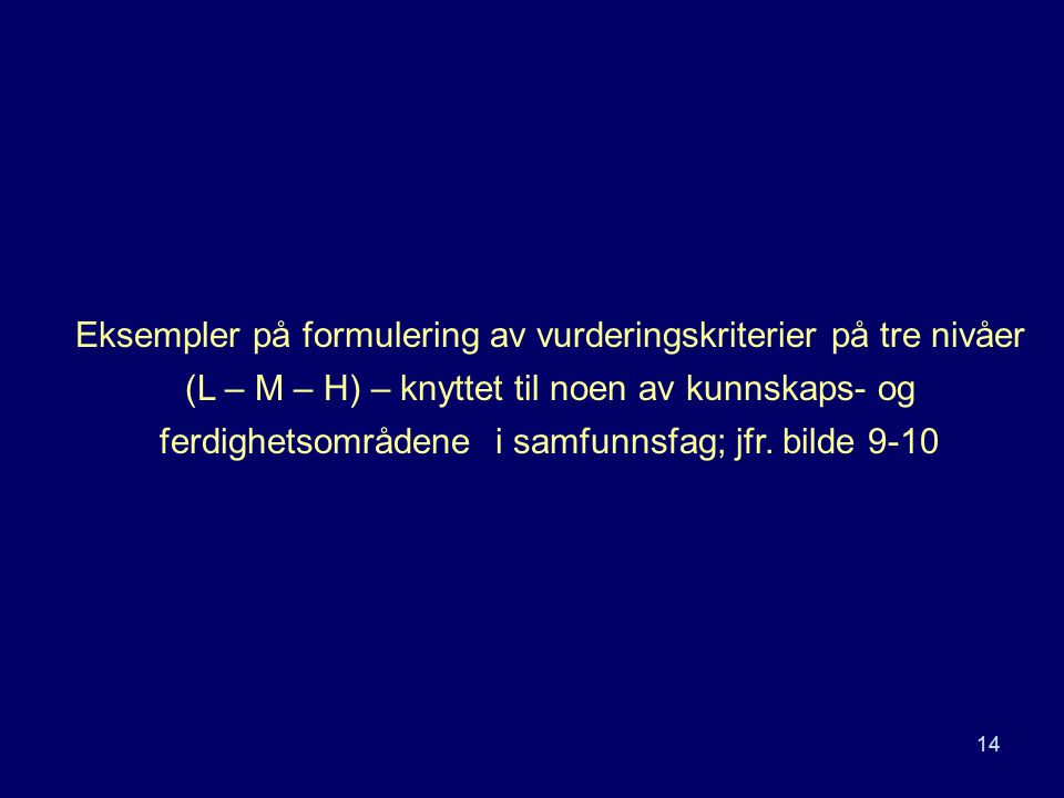 Eksempler på formulering av vurderingskriterier på tre nivåer (L – M – H) – knyttet til noen av kunnskaps- og ferdighetsområdene i samfunnsfag; jfr.