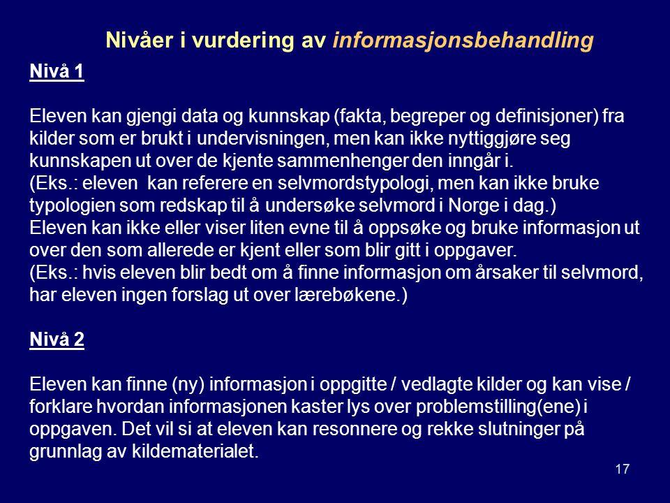 Nivåer i vurdering av informasjonsbehandling