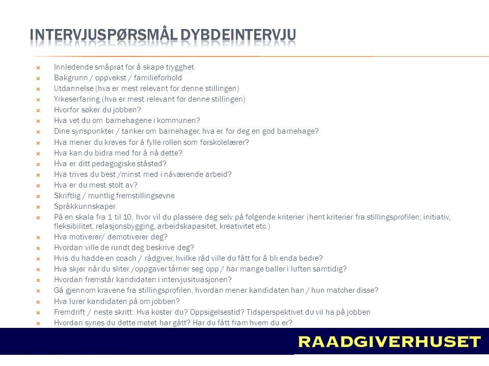 Intervjuspørsmål DYBDEINTERVJU