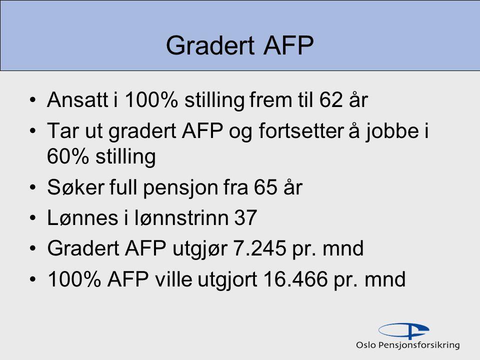 Gradert AFP Ansatt i 100% stilling frem til 62 år