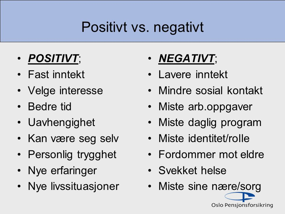 Positivt vs. negativt POSITIVT; Fast inntekt Velge interesse Bedre tid