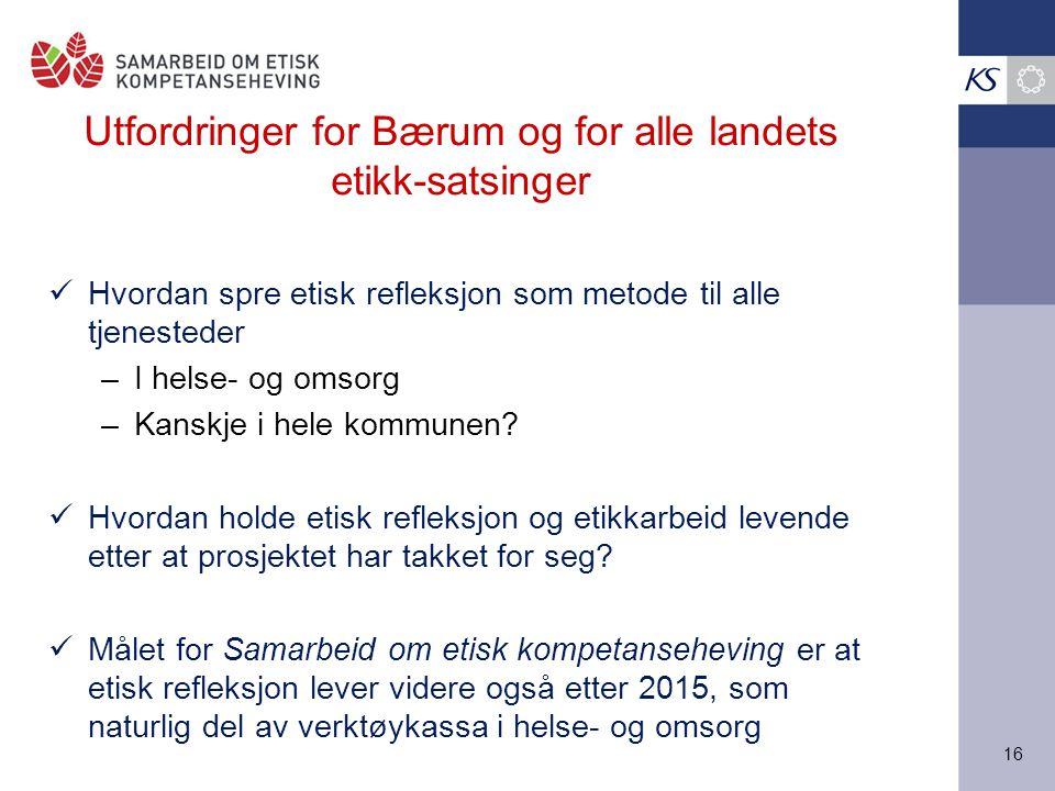 Utfordringer for Bærum og for alle landets etikk-satsinger