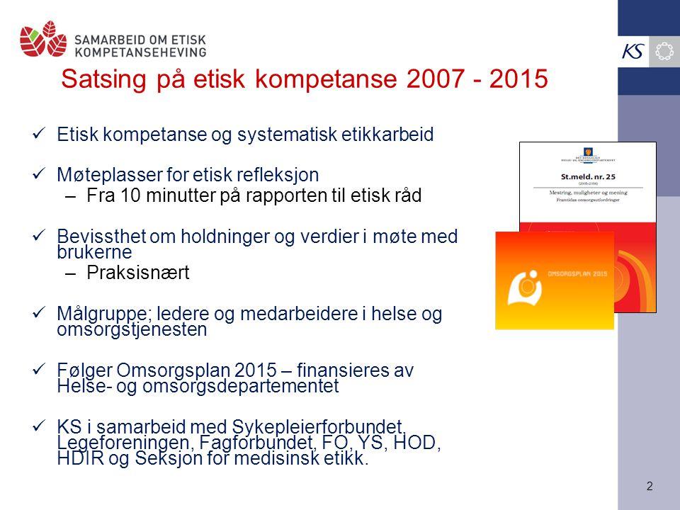 Satsing på etisk kompetanse 2007 - 2015