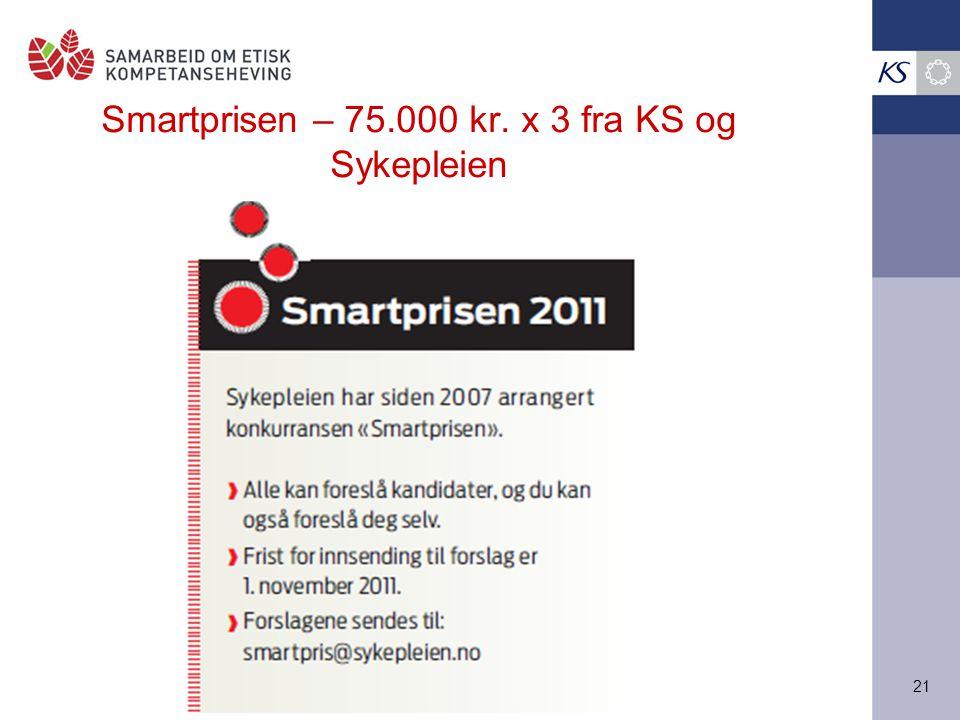 Smartprisen – 75.000 kr. x 3 fra KS og Sykepleien