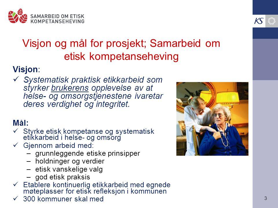 Visjon og mål for prosjekt; Samarbeid om etisk kompetanseheving