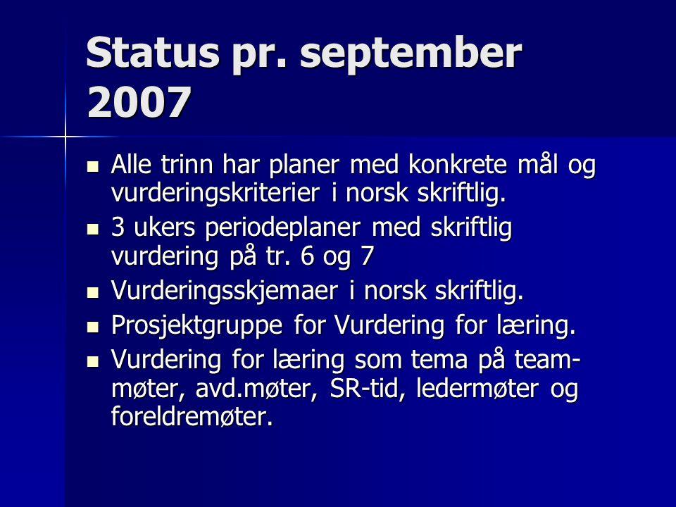 Status pr. september 2007 Alle trinn har planer med konkrete mål og vurderingskriterier i norsk skriftlig.
