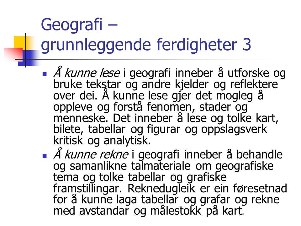 Geografi – grunnleggende ferdigheter 3