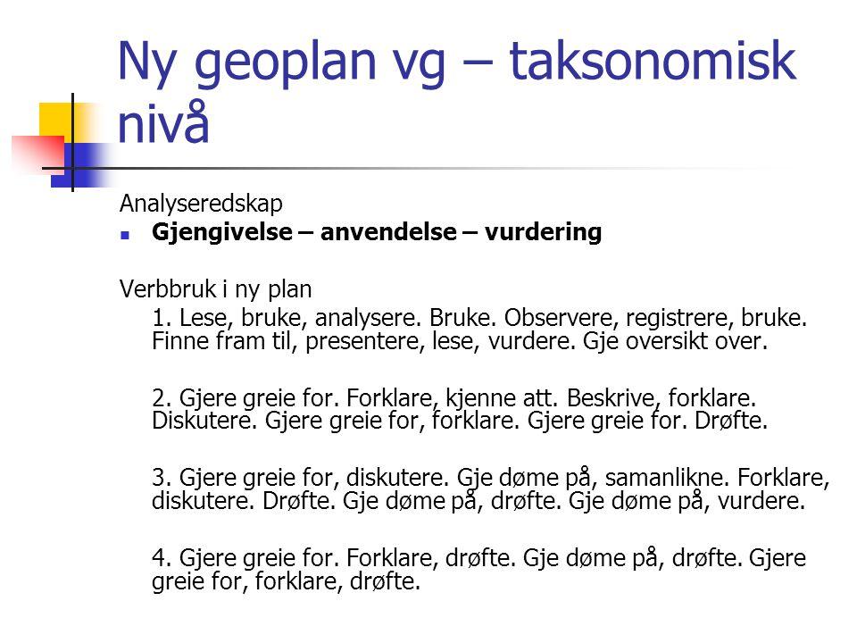 Ny geoplan vg – taksonomisk nivå