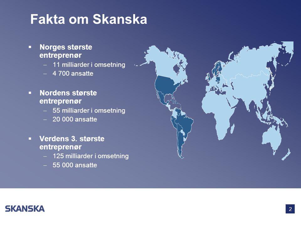 Fakta om Skanska Norges største entreprenør