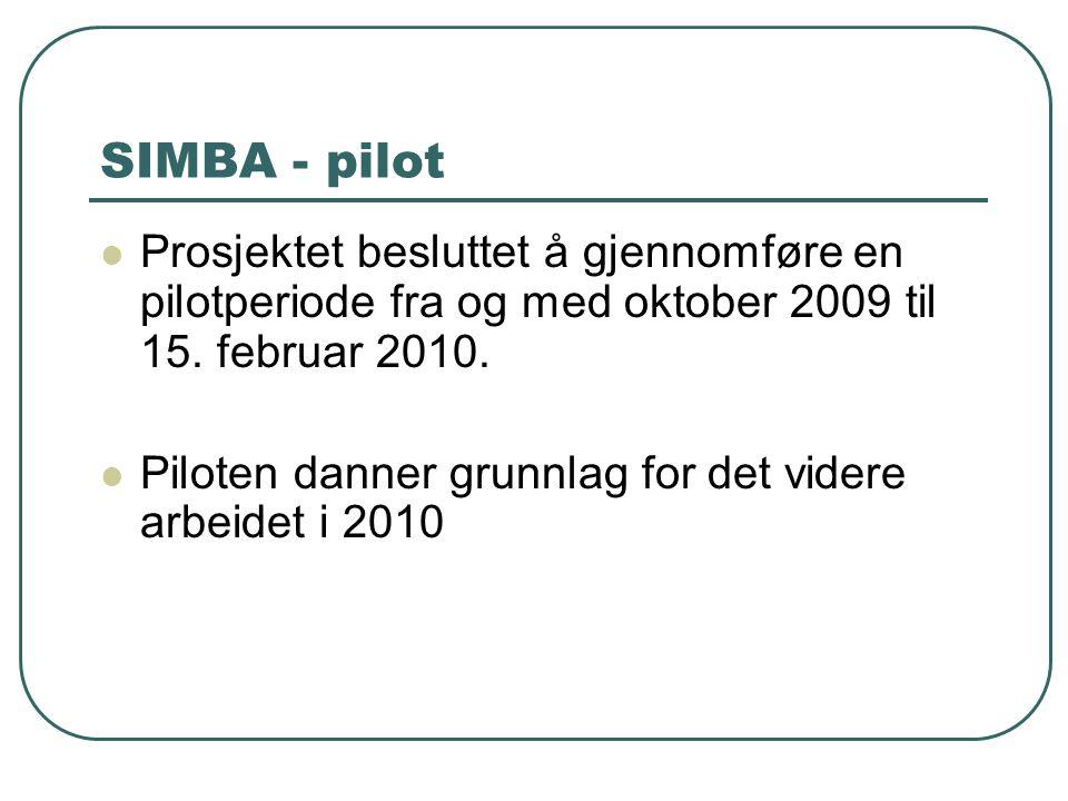 SIMBA - pilot Prosjektet besluttet å gjennomføre en pilotperiode fra og med oktober 2009 til 15. februar 2010.