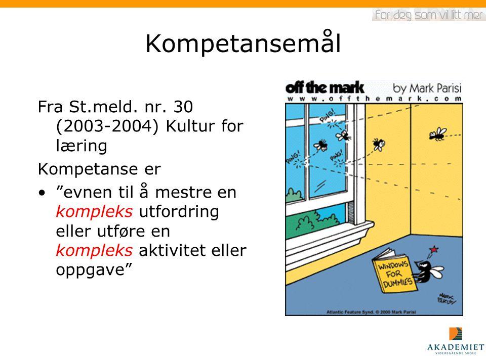 Kompetansemål Fra St.meld. nr. 30 (2003-2004) Kultur for læring