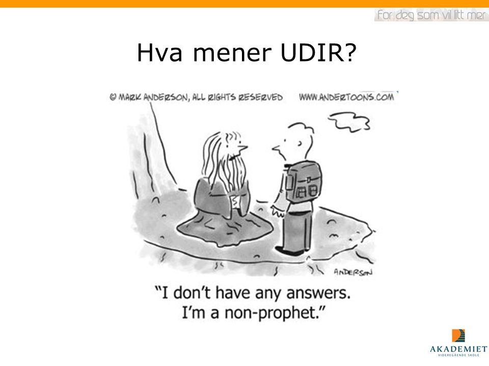 Hva mener UDIR