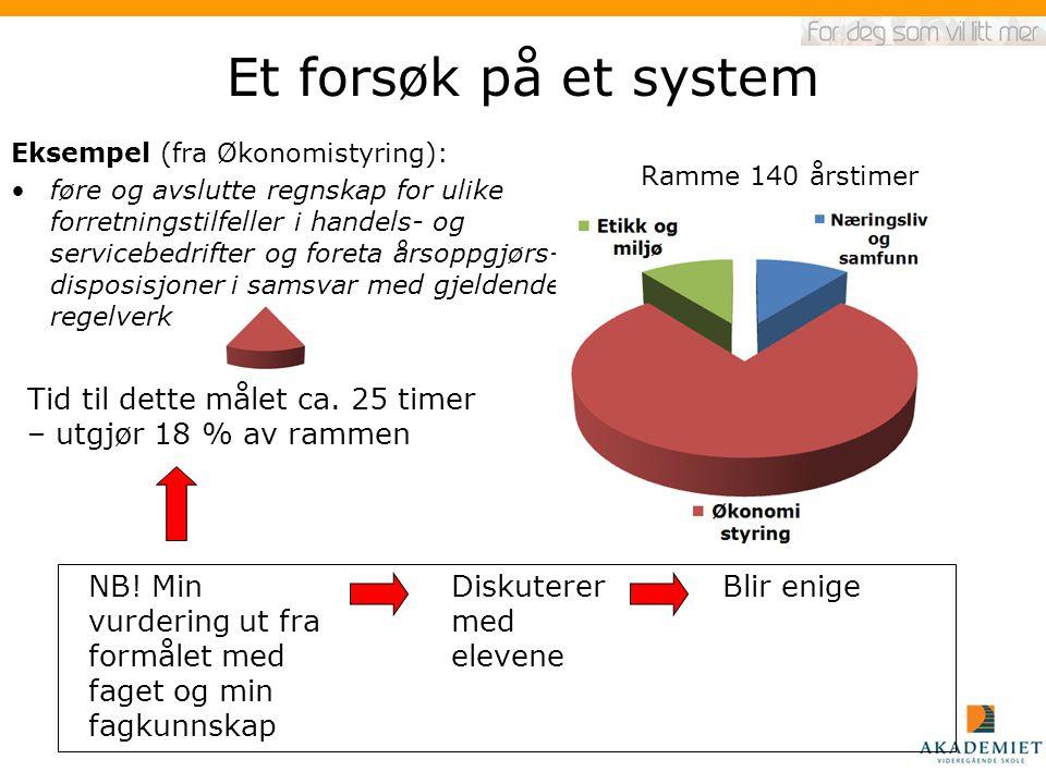 Et forsøk på et system Eksempel (fra Økonomistyring):