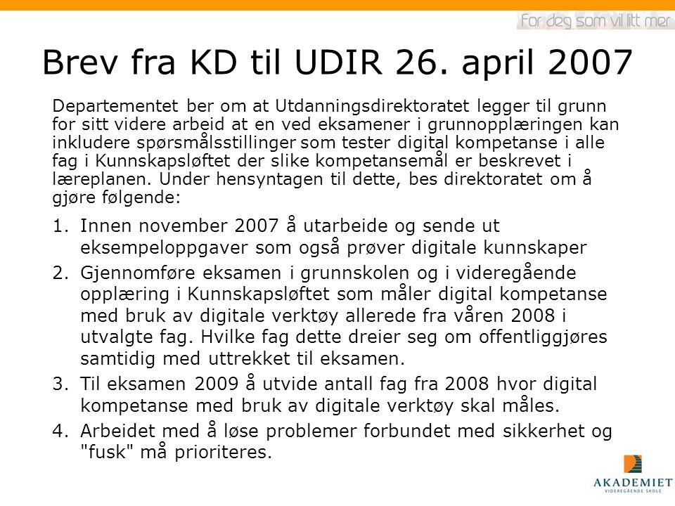 Brev fra KD til UDIR 26. april 2007