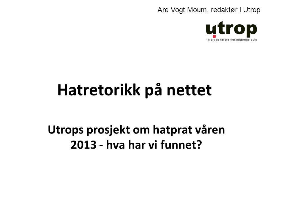 Utrops prosjekt om hatprat våren 2013 - hva har vi funnet