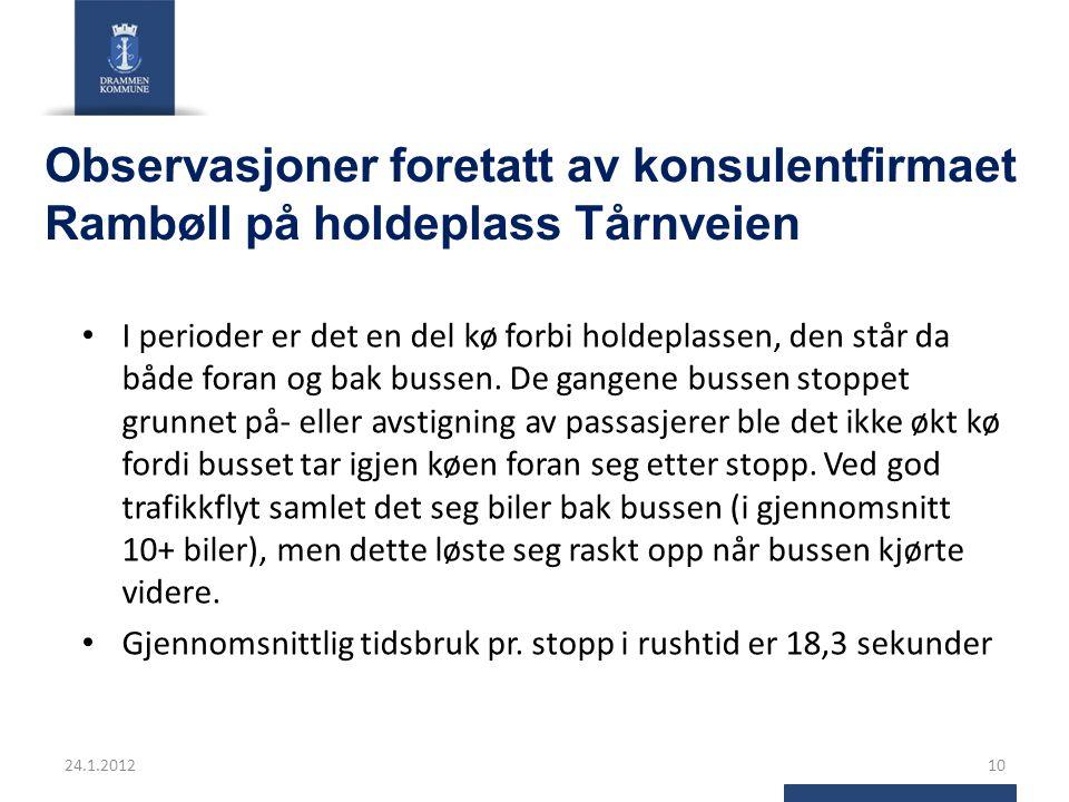 Observasjoner foretatt av konsulentfirmaet Rambøll på holdeplass Tårnveien