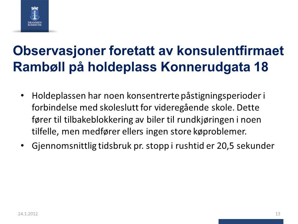 Observasjoner foretatt av konsulentfirmaet Rambøll på holdeplass Konnerudgata 18