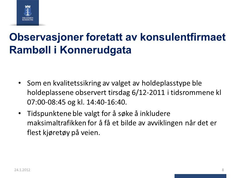 Observasjoner foretatt av konsulentfirmaet Rambøll i Konnerudgata