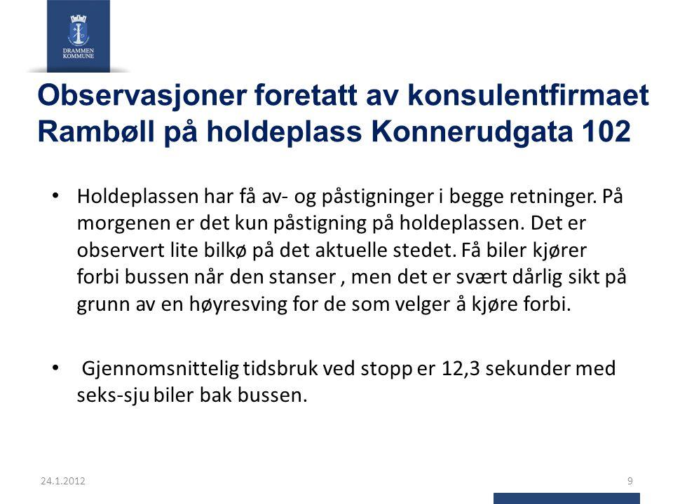Observasjoner foretatt av konsulentfirmaet Rambøll på holdeplass Konnerudgata 102