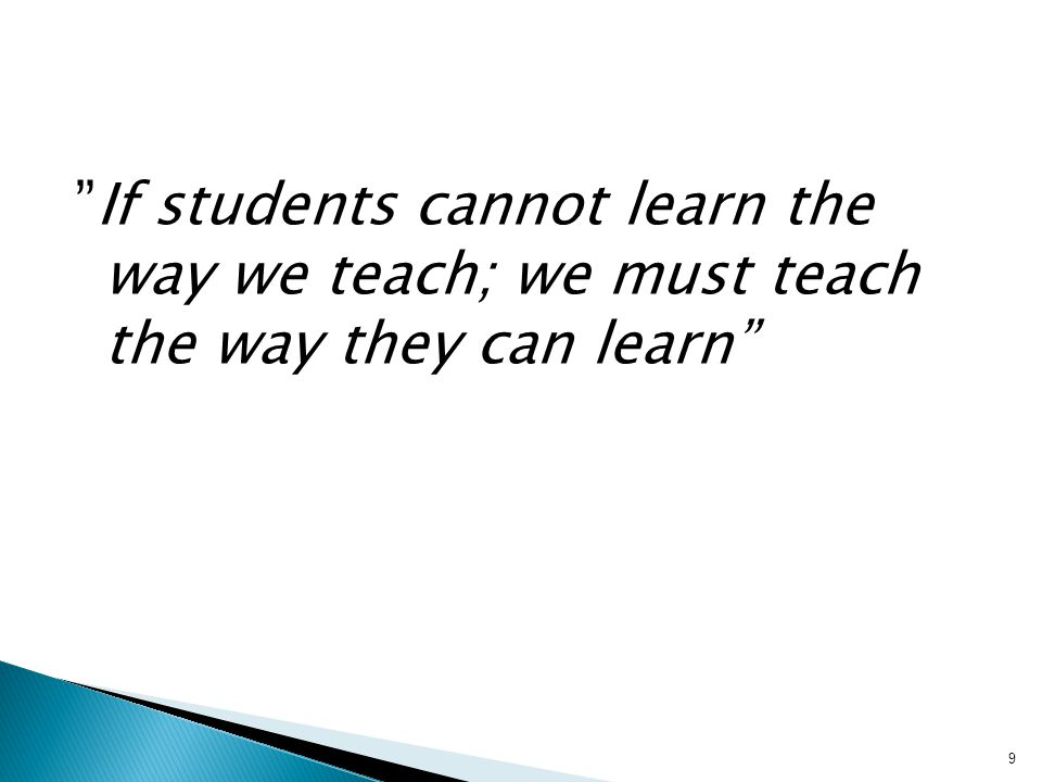 15.09.2008 If students cannot learn the way we teach; we must teach the way they can learn