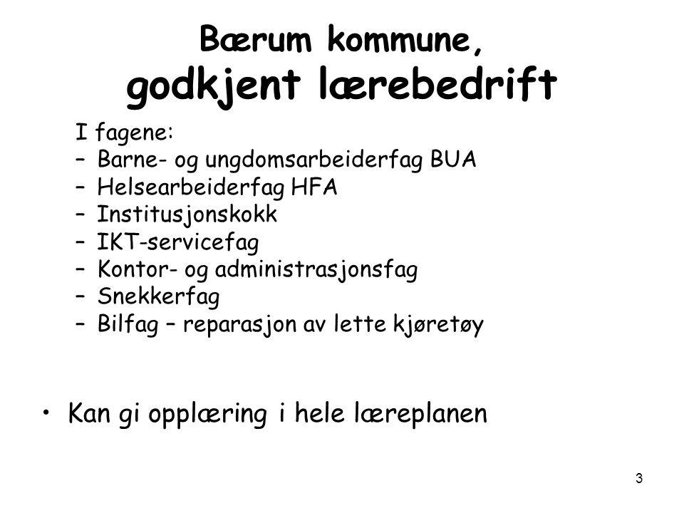 Bærum kommune, godkjent lærebedrift