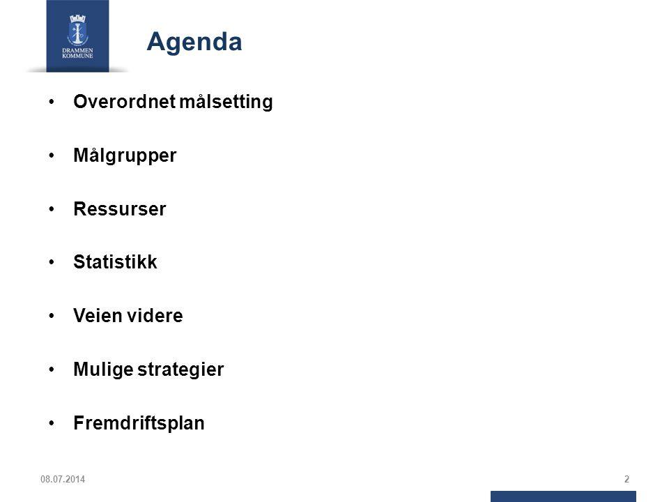 Agenda Overordnet målsetting Målgrupper Ressurser Statistikk
