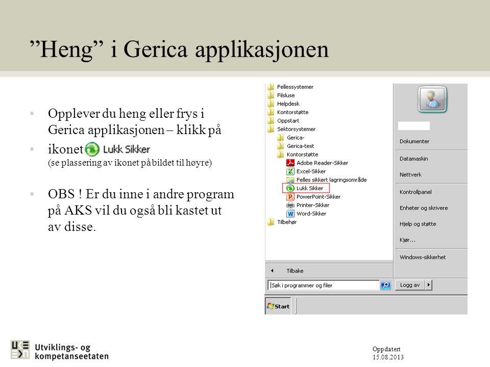 Heng i Gerica applikasjonen