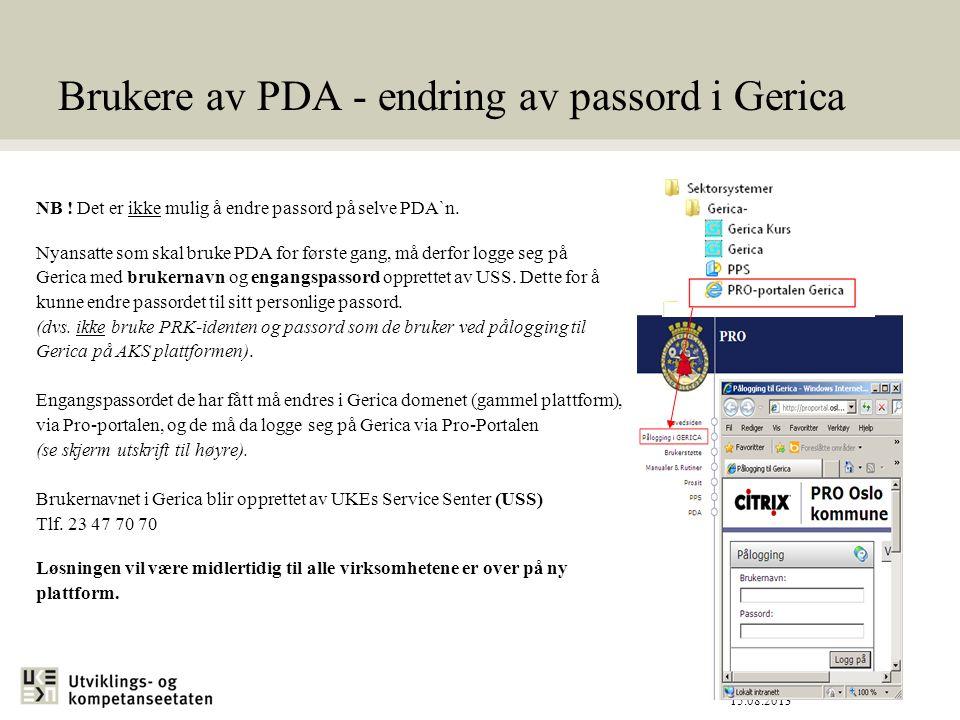 Brukere av PDA - endring av passord i Gerica