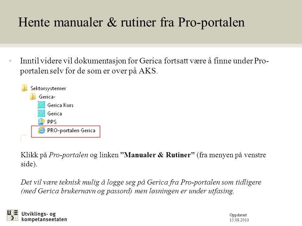 Hente manualer & rutiner fra Pro-portalen