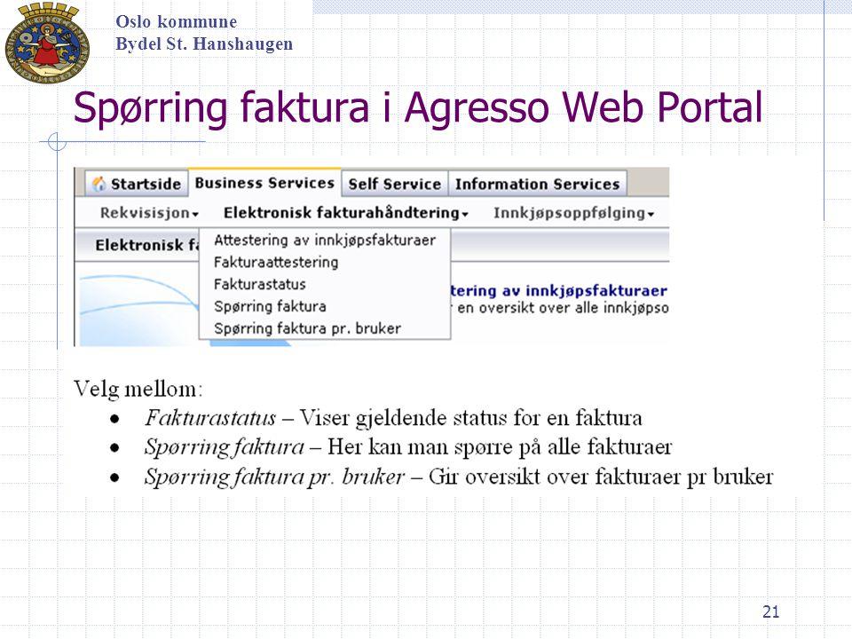 Spørring faktura i Agresso Web Portal