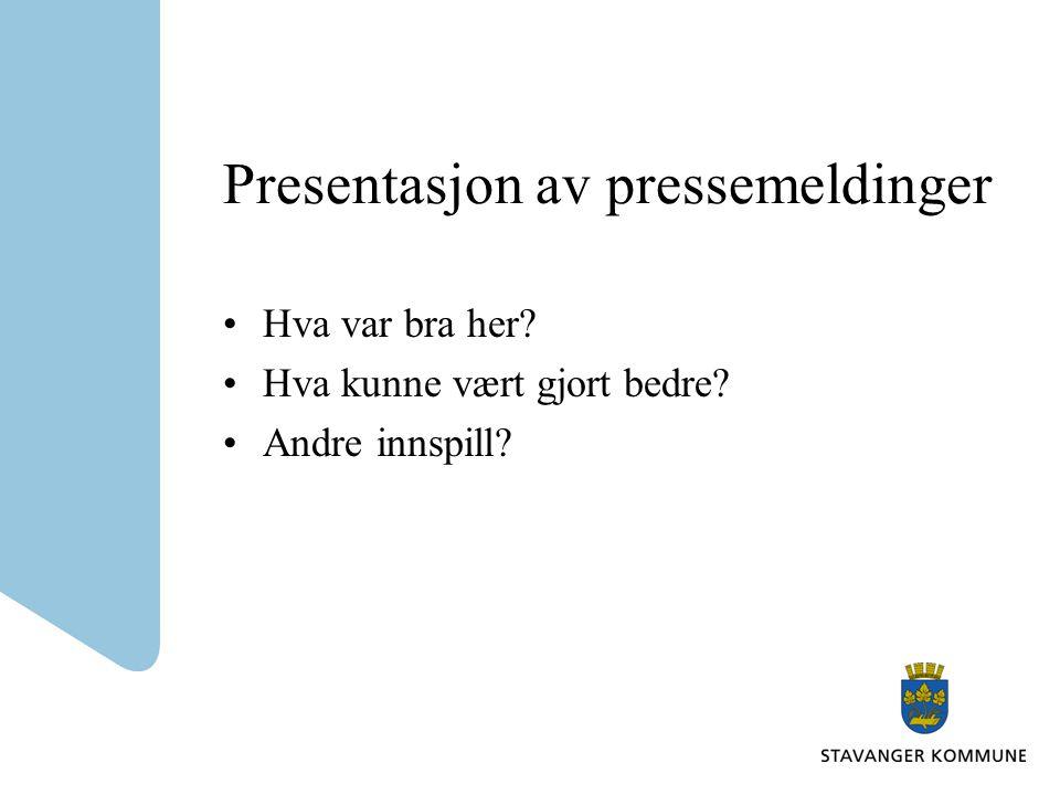 Presentasjon av pressemeldinger