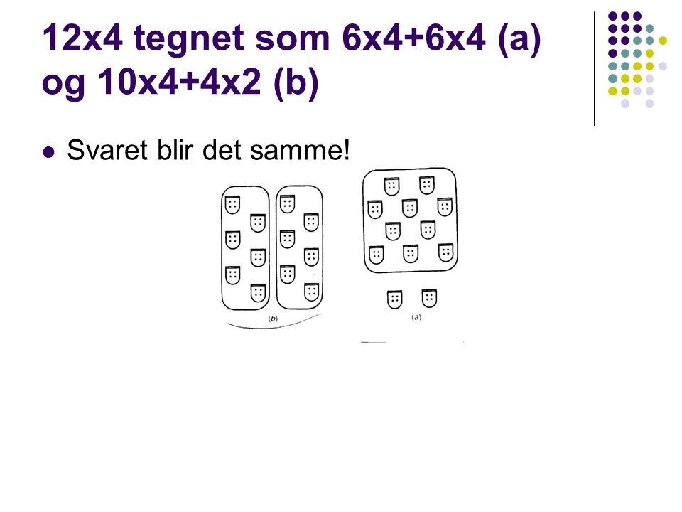 12x4 tegnet som 6x4+6x4 (a) og 10x4+4x2 (b)