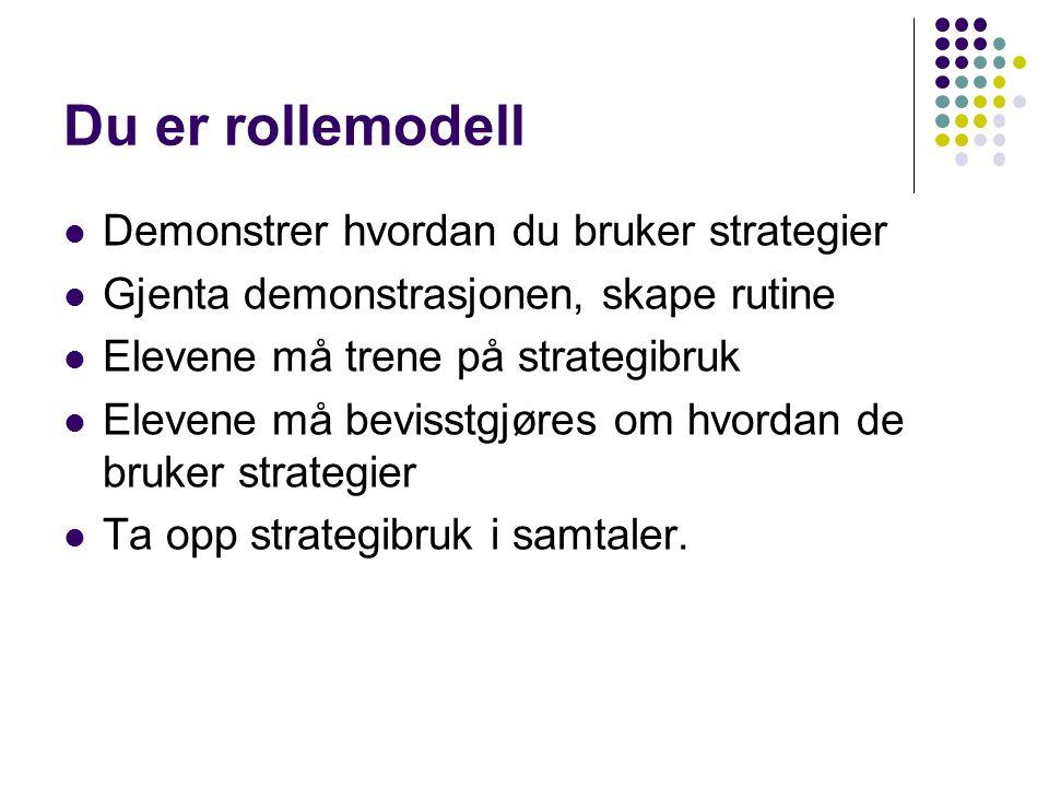 Du er rollemodell Demonstrer hvordan du bruker strategier