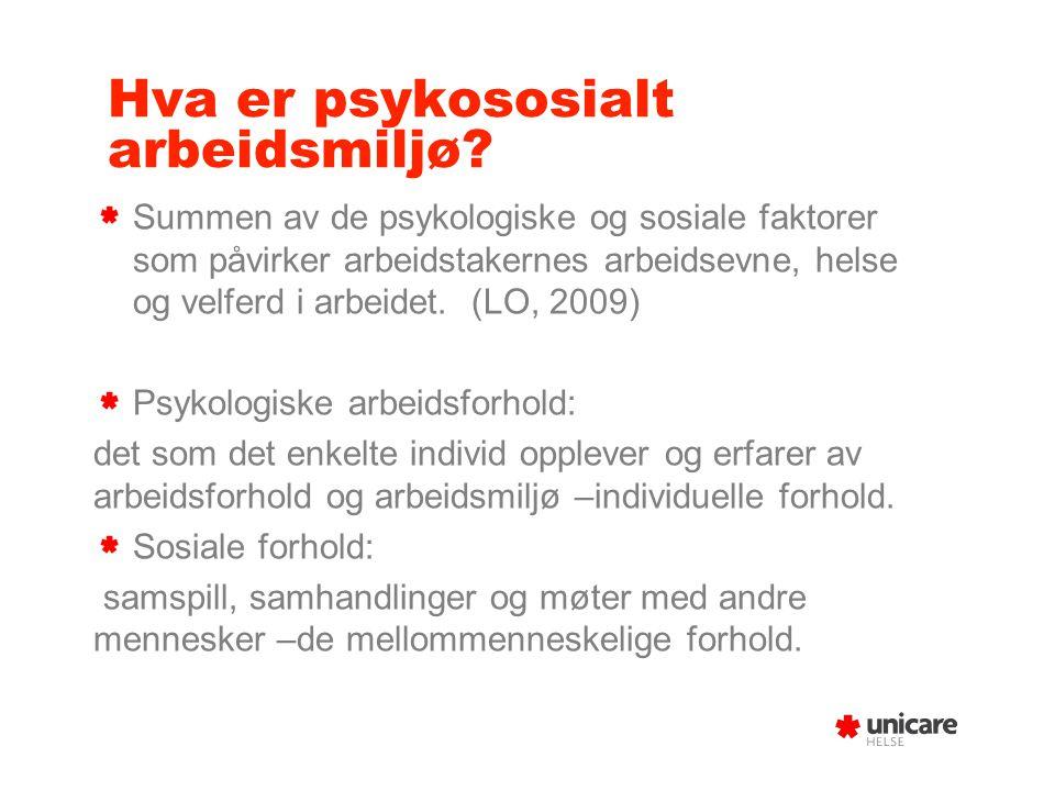4/4/2017 Psykososialt arbeidsmiljø Grunnkurs hms Sykehjemsetaten 28.10.13 Marthe Andresen bedriftslege Unicare.