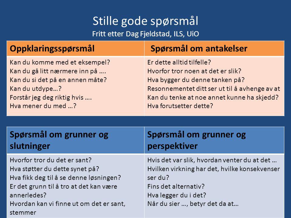 Stille gode spørsmål Fritt etter Dag Fjeldstad, ILS, UiO