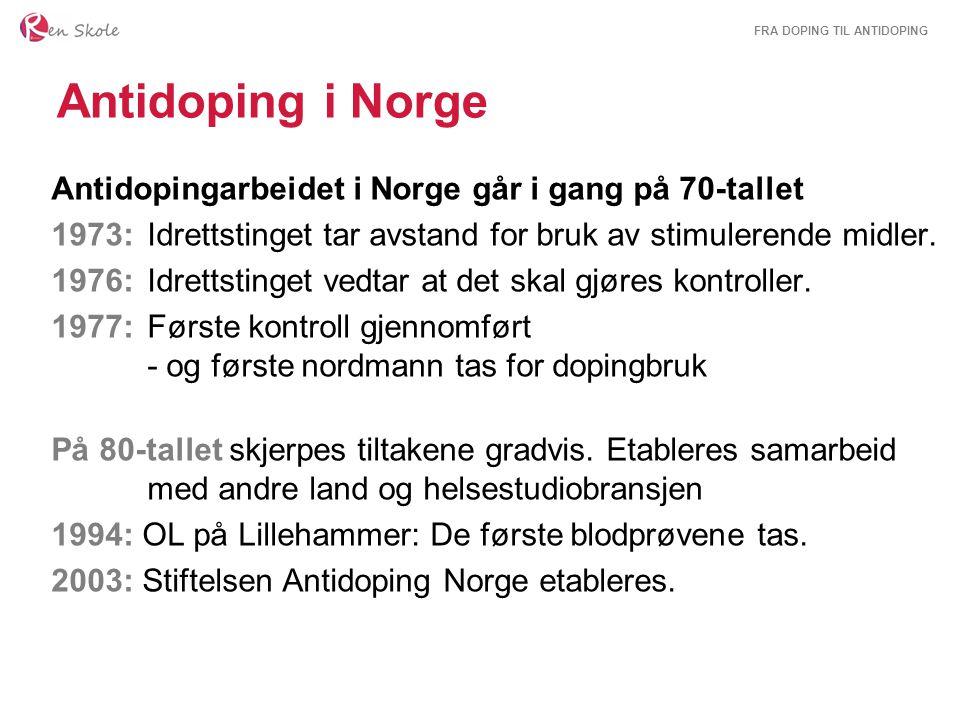 Antidoping i Norge Antidopingarbeidet i Norge går i gang på 70-tallet