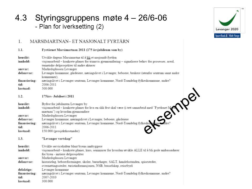 4.3 Styringsgruppens møte 4 – 26/6-06 - Plan for iverksetting (2)