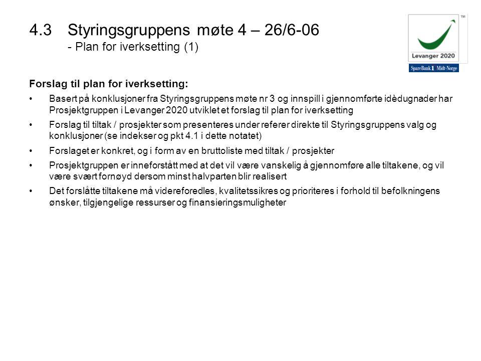 4.3 Styringsgruppens møte 4 – 26/6-06 - Plan for iverksetting (1)