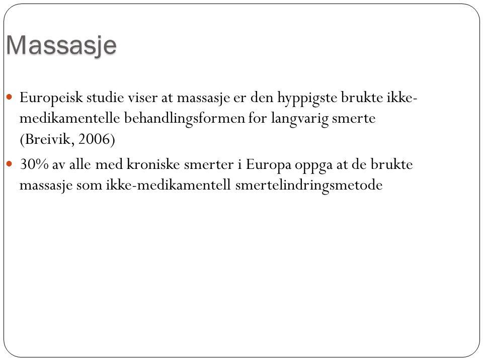 Massasje Europeisk studie viser at massasje er den hyppigste brukte ikke- medikamentelle behandlingsformen for langvarig smerte (Breivik, 2006)