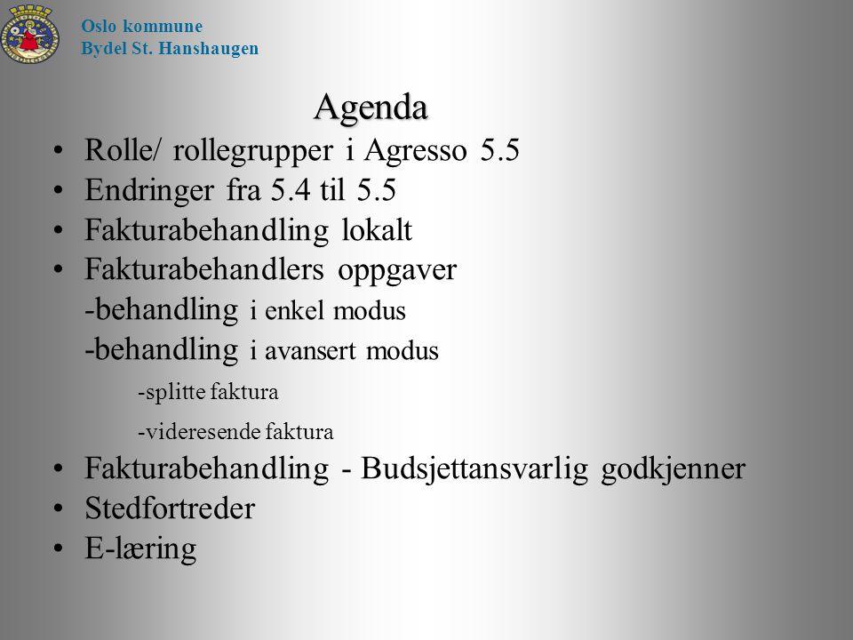 Agenda Rolle/ rollegrupper i Agresso 5.5 Endringer fra 5.4 til 5.5