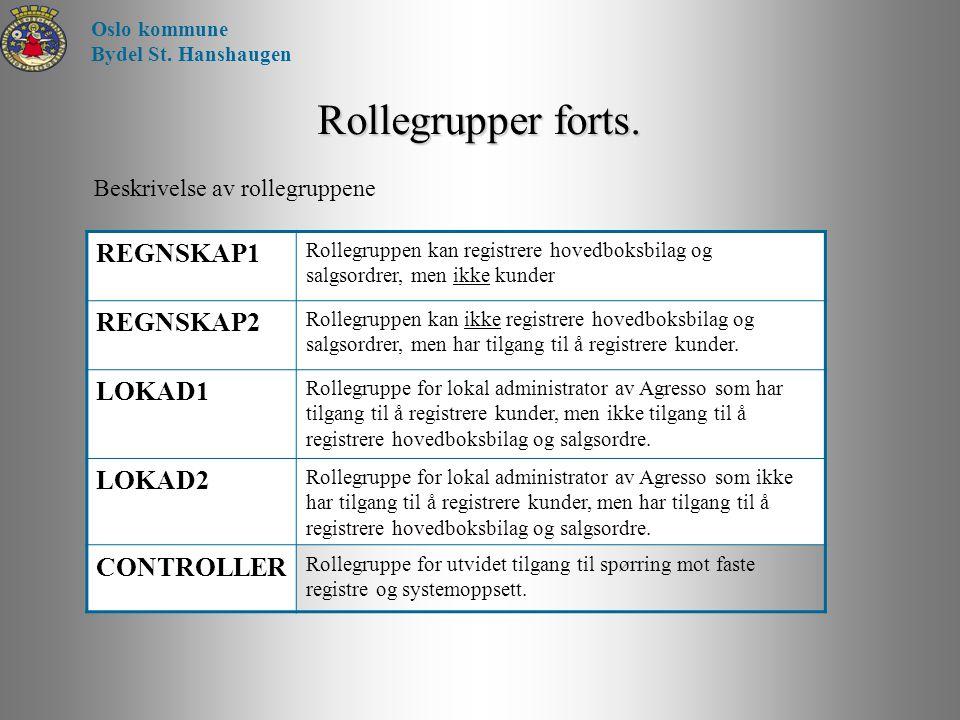 Rollegrupper forts. REGNSKAP1 REGNSKAP2 LOKAD1 LOKAD2 CONTROLLER