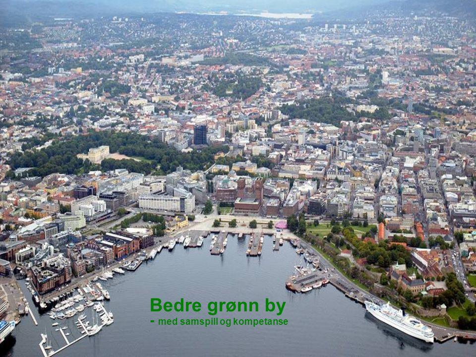 Flyfoto av byen Bedre grønn by - med samspill og kompetanse