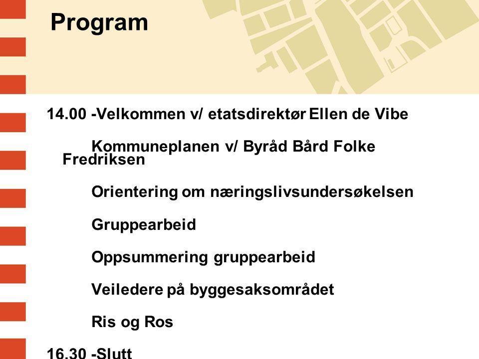 Program 14.00 -Velkommen v/ etatsdirektør Ellen de Vibe