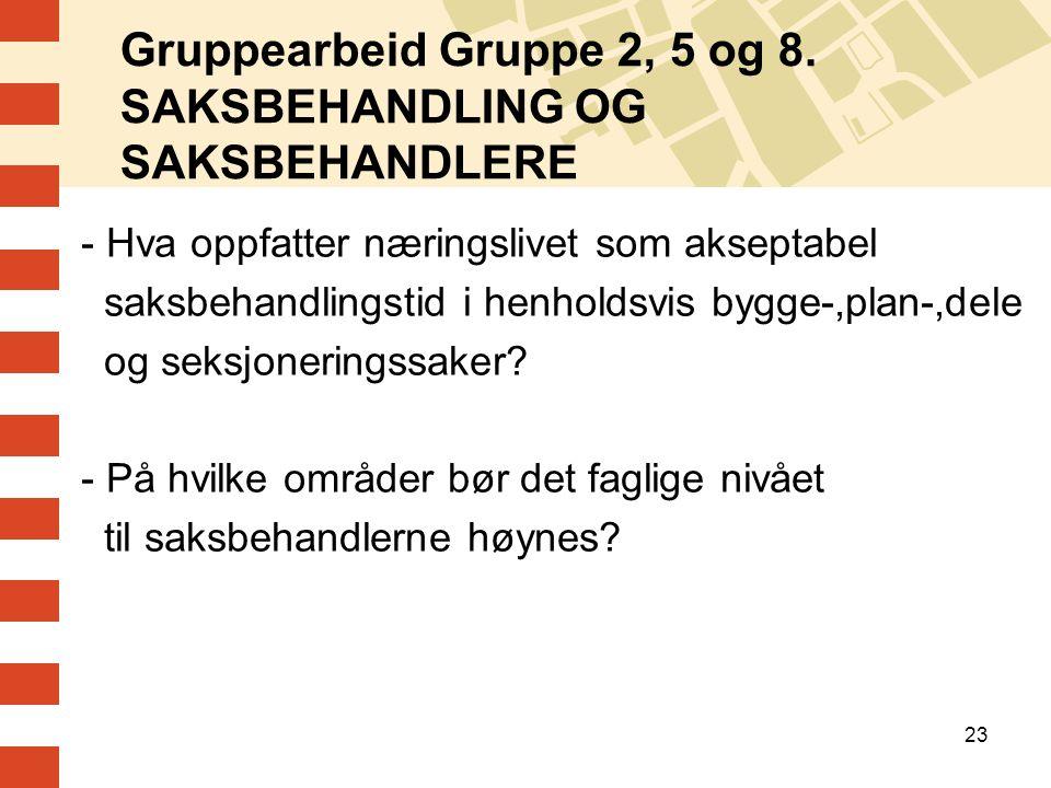 Gruppearbeid Gruppe 2, 5 og 8. SAKSBEHANDLING OG SAKSBEHANDLERE