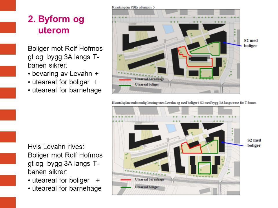2. Byform og uterom. Boliger mot Rolf Hofmos gt og bygg 3A langs T-banen sikrer: bevaring av Levahn +