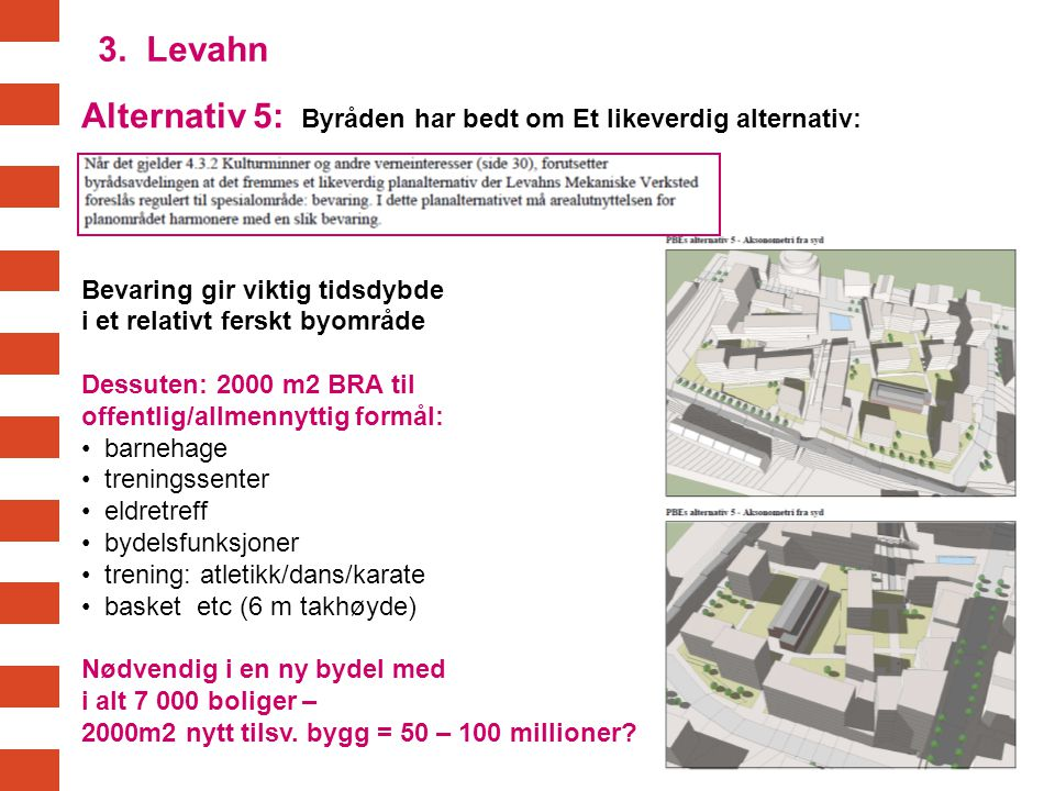 Alternativ 5: Byråden har bedt om Et likeverdig alternativ: